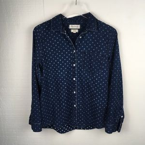 Madewell Chambray Polka Dot Long Sleeve Shirt